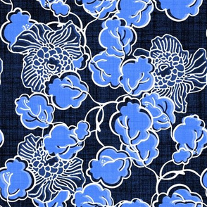 Moonlit Floral Blue Block Print