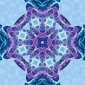 Mandala fractal blue marble celtic cross
