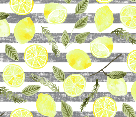 Lemons & Rosemary fabric by scarlette_soleil on Spoonflower - custom fabric