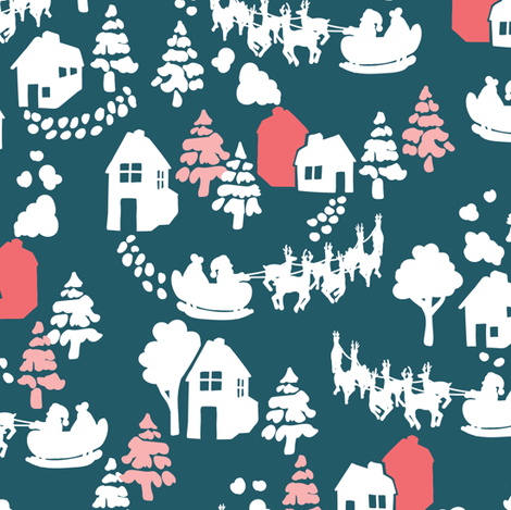 Santas sleigh in blue and pink fabric by lburleighdesigns on Spoonflower - custom fabric