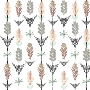 Botanical Arrows pink and mint