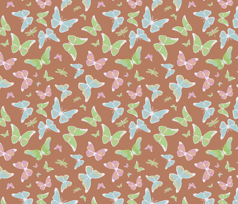 Butterflies, brown fabric by michellegracedesign on Spoonflower - custom fabric