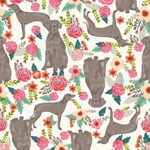 weimaraner floral dog fabric dogs and flowers design - offwhite