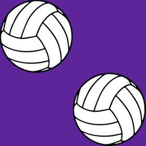 Three Inch Black and White Sports Volleyball Balls on  Purple
