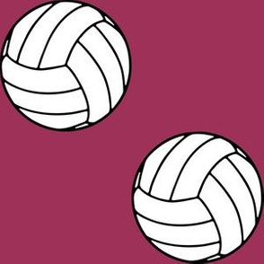 Three Inch Black and White Sports Volleyball Balls on Sangria Pink