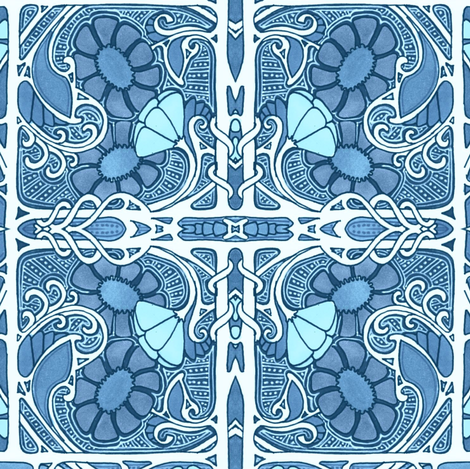 Blue Happiness in a Box fabric by edsel2084 on Spoonflower - custom fabric