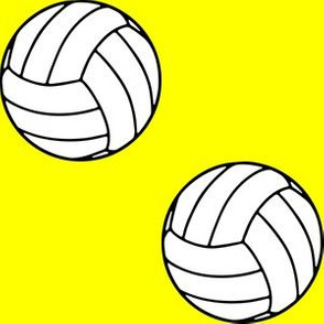 Three Inch Black and White Sports Volleyball Balls on Yellow