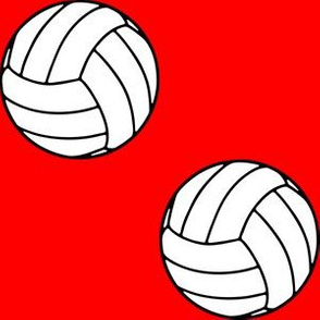 Three Inch Black and White Sports Volleyball Balls on Red