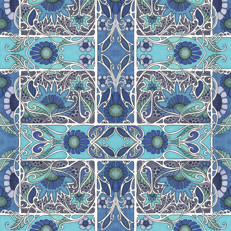 Lacy Blue Bramble fabric by edsel2084 on Spoonflower - custom fabric