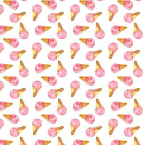 Pink small watercolor ice cream cones