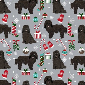Havanese Christmas fabric. - dog and Xmas design - grey