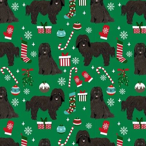 Havanese Christmas fabric. - dog and Xmas design - green