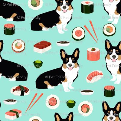 Tricolored corgi fabric dogs and sushi design - mint