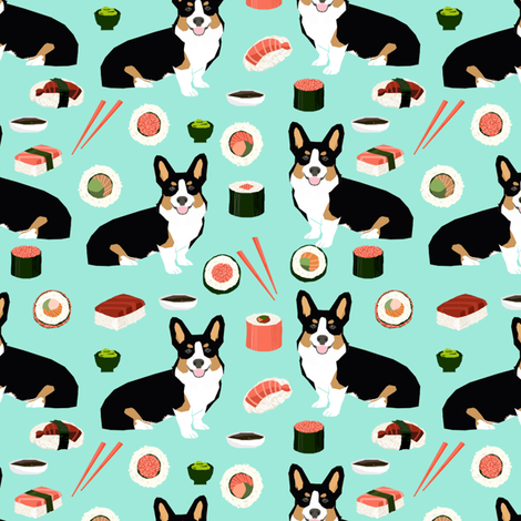 Tricolored corgi fabric dogs and sushi design - mint fabric by petfriendly on Spoonflower - custom fabric