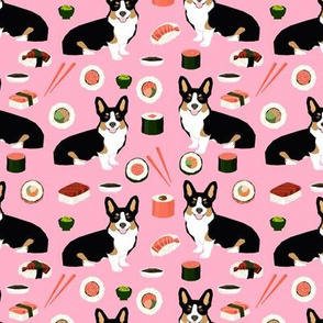 Tricolored corgi fabric dogs and sushi design - pink