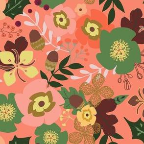 Jazzy Acorn Floral in Tangerine
