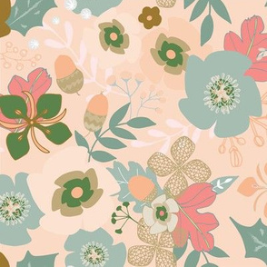 Jazzy Peach Florals with Acorns