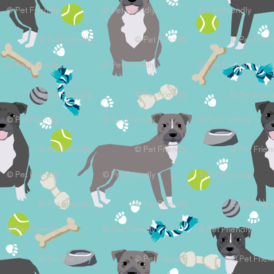Staffordshire Terrier dog and toys - cute dogs and toys design