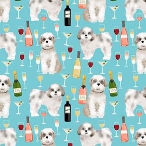 Shih tzu dog fabric - wine and dogs design - blue
