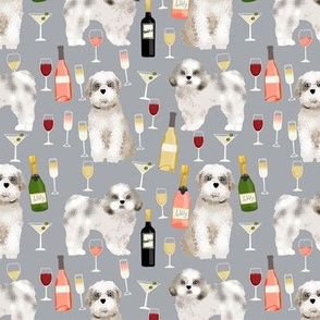 Shih tzu dog fabric - wine and dogs design - grey