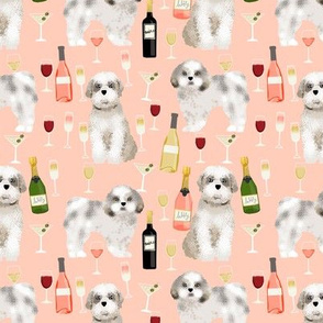 Shih tzu dog fabric - wine and dogs design - peach