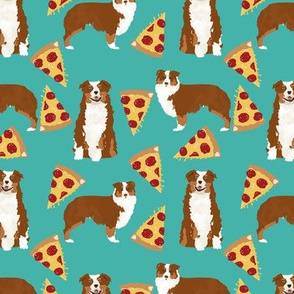 Aussie dog fabric dogs and pizza design - Australian shepherd - turquoise