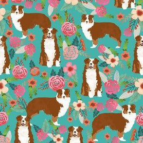 Aussie floral fabric Australian shepherd design - red tricolored dog