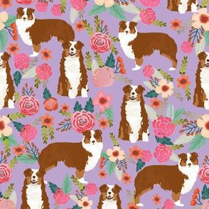 Aussie floral fabric Australian shepherd design - red tricolored dog
