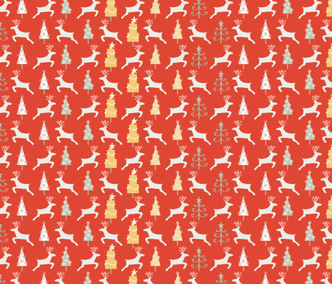 Holiday Reindeer, red©Solvejg fabric by solvejg on Spoonflower - custom fabric