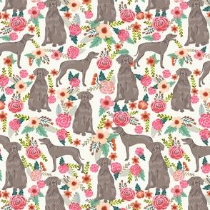 weimaraner florals dog fabric - floral dog design - off-white