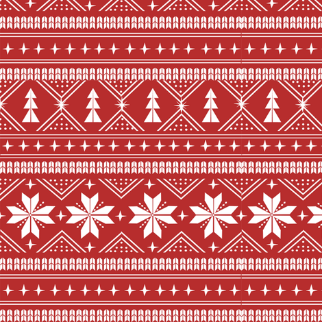 nordic christmas minimal sweater giftwrap holiday fabric red fabric by charlottewinter on Spoonflower - custom fabric