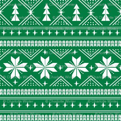 nordic christmas minimal sweater giftwrap holiday fabric green
