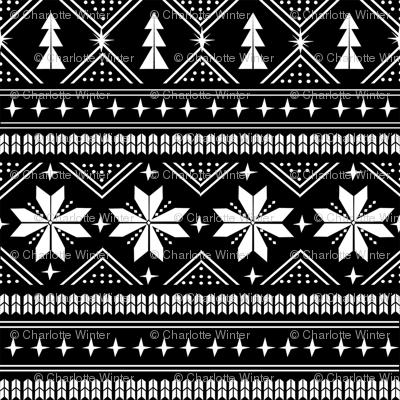 nordic christmas minimal sweater giftwrap holiday fabric black white