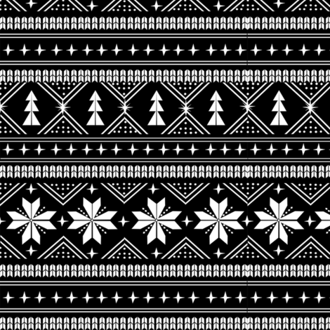 nordic christmas minimal sweater giftwrap holiday fabric black white fabric by charlottewinter on Spoonflower - custom fabric