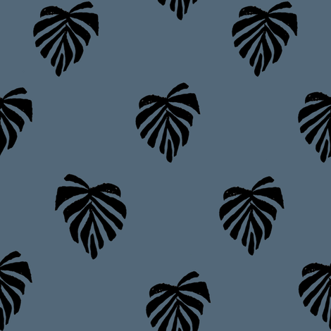 leaf // leaves tropical monstera plant palm springs vacation payne's grey fabric by andrea_lauren on Spoonflower - custom fabric