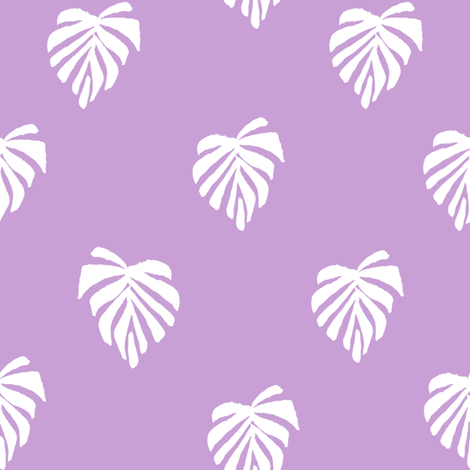 leaf // leaves tropical monstera plant palm springs vacation lilac fabric by andrea_lauren on Spoonflower - custom fabric