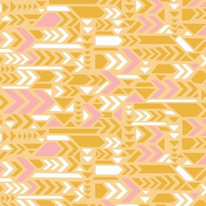 Geometric arrows in yellow and pink