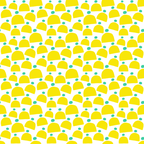 Yellow and Teal Winter Hats fabric by emmafreemandesigns on Spoonflower - custom fabric