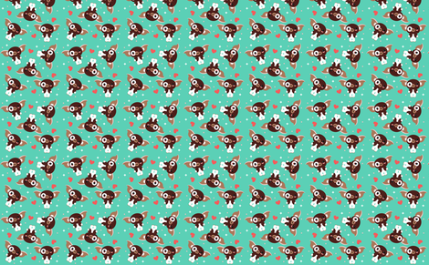 Gizmo on Aqua fabric by emandsprout on Spoonflower - custom fabric