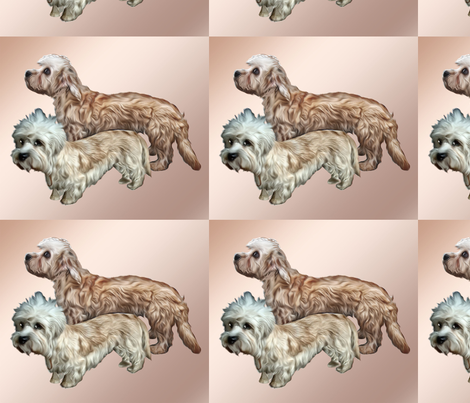 Two Dandie Dinmont Terriers fabric by dogdaze_ on Spoonflower - custom fabric