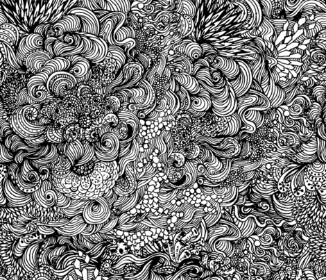Coloring underwater world in black and white fabric by magic_pencil on Spoonflower - custom fabric