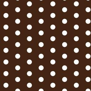 Dark Chocolate Brown  w/ White Dots