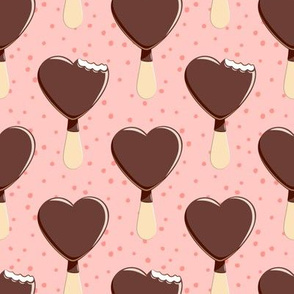 heart shaped ice-cream - pink with pink dots