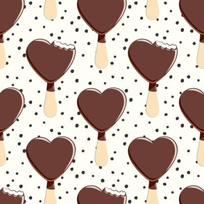 heart shaped ice-cream - cream with dots