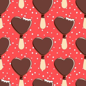 heart shaped ice-cream - red with dots