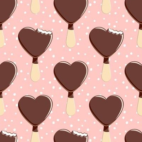 heart shaped ice-cream -  pink with white dots