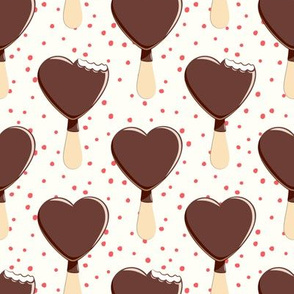 heart shaped ice-cream - cream with red dots