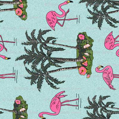 Vintage_flamingos_tea_towel