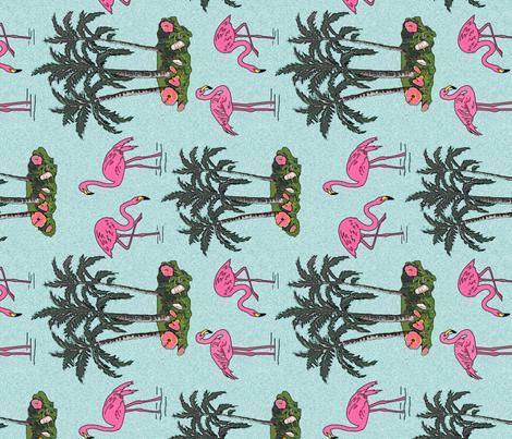 Vintage_flamingos_tea_towel fabric by leroyj on Spoonflower - custom fabric