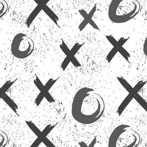 x to the o, grey ink splatter, XO, kisses hugs, grunge fabric by lub_by_lamb on Spoonflower - custom fabric